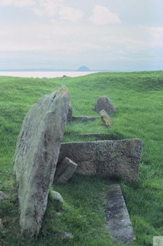 Torrylin Cairn, the remains of a neolithic chambered tomb on the Isle of Arran, Scotland.