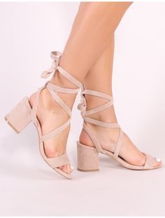 Sophie Heeled Sandals in Nude Faux Suede High Heels Outfit, Dress And Heels, Dress Shoes, Sandals Outfit, Dress Outfits, Strappy Sandals Heels, Lace Up Heels, Graduation Shoes, Short Heels
