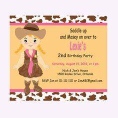Cowgirl Birthday Invitation Girl Birthday by DigitalDesignsByDawn