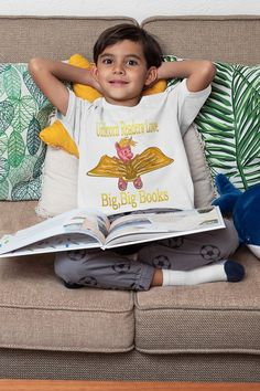 Fun unicorn reader tee shirt available in kids and adults sizes. Unicorn Readers Love Big, Big Books. #unicornreader #unicornwriter Big Sister T Shirt, Promoted To Big Brother, Unicorn Books, Half Sleeves, Different Styles, Cotton Tee, Kids Shirts, New Look, Colorful Shirts