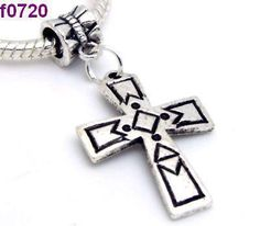 Awesome Tibetan Silver Cross Charm With Bail #720 $4.95