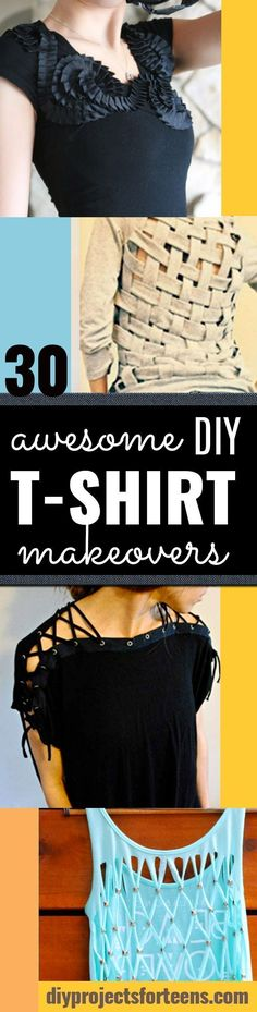 DIY T-Shirt Makeovers - Awesome Way to Upcycle Tees - Cool No Sew Tshirt Cutting Tutorials, Simple Summer Cutouts, How To Make Halter Tops and T-Shirt Dresses. Easy Tutorials and Instructions for Teens and Adults http:diyprojectsforteens.com/diy-tshirt-makeovers #diytshirt #teesforteens #diyshirtssummer #diydresstutorial