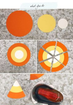 Minute Candy Corn Tags Candy Corn Tags Instructions tutorial - just need circle dies and a corner rounder - genius!Candy Corn Tags Instructions tutorial - just need circle dies and a corner rounder - genius! Theme Halloween, Halloween Cards, Holidays Halloween, Halloween Door Decs, Preschool Halloween, Paper Punch Art, Punch Art Cards, Fall Cards, Holiday Cards