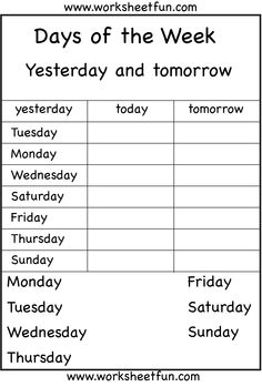 days of the week...my Jacey needs this!!