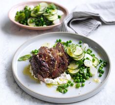 Lamb rump with zucchini, peas and mint recipe - Lamb rump with zucchini, peas and mint recipe - Preheat oven to Combine garlic, dried herbs and half the oil in a large bowl and season to taste, then add lamb and rub mixture all over. Mint Recipes, Lamb Recipes, Cooking Recipes, Healthy Recipes, Sashimi, Lamb Dishes, Tapas Dishes, Good Food, Yummy Food