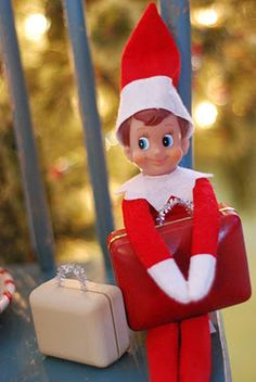 Our Elf on the Shelf, Mack, is packing his suitcases and getting ready to head back to the North Pole with Santa on Christmas Eve :(