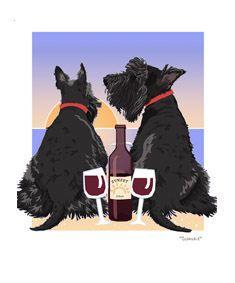Scottish Terrier Sunset Dogs
