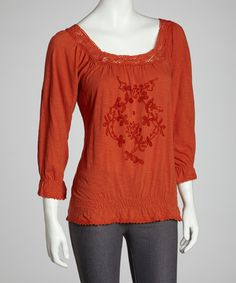 Take a look at this Orange Embroidered Floral Peasant Top by Chorus Girl on #zulily today! $12 !!