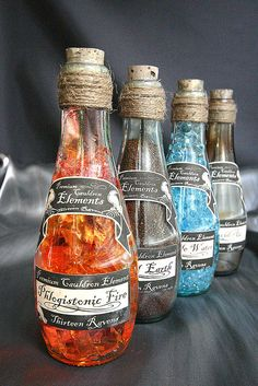Cauldron Elements Potion Bottles - note the interiors, Natural Earth, Pellucid Air, Inculpable Water, Phlogistonic Fire Halloween Potion Bottles, Halloween Apothecary, Halloween Labels, Holidays Halloween, Halloween Crafts, Halloween Halloween, Vintage Halloween, Halloween Pumpkins, Halloween Makeup