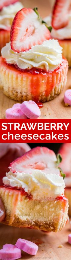 Mini strawberry cheesecakes are easy to make with simple ingredients. The texture in this strawberry cheesecake recipe is is creamy and smooth with a buttery crust. The fresh strawberry topping is irresistible. Valentine's Day Dessert! | natashaskitchen.com