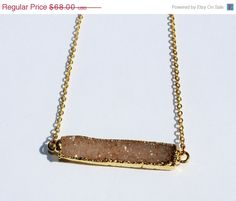 Mothers Day SALE Druzy Bar Necklace, Gold Geode Necklace, Agate Necklace, Layering Necklace, Boho Chic, Bohemian Jewelry
