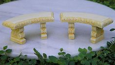 #Miniature dollhouse #fairy #garden furniture ~ tiny ivory curved bench ~ set of ,  View more on the LINK: 	http://www.zeppy.io/product/gb/2/251541329512/