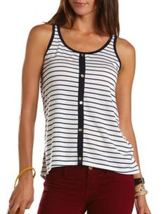 striped hi-low button-down tank