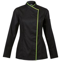 Clement Design Women's Chef Jacket from France-Intuition Black     Sharp looking!!   can choose color on piping- also can personalize!   www.clementdesignusa.com