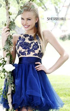 Navy/Nude Sherri Hill 21219 A-Line Lace Floral Cocktail Dress Discount [Navy/Nude Sherri Hill 21219] - $180.00 : Best brands and styles of prom dress 2015 with most favorable prices.