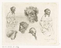 D. van den Bosch | Studieblad met hoofden en vrouwenlichamen, D. van den Bosch, 1817 |