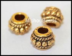 5 ANTIQUED Gold 8mm Tibetan Style DRUM Spacer Bead  by MichouBeads