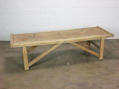 Antique Chinese Elm Coffee Table with Arched Stretcher Circa 1815 Shanxi Region