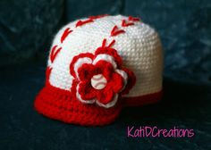 #Crochet Baseball Hat/Baseball Bat by KatiDCreations - pattern available for purchase! This hat is just too cute - every tiny baseball fan should have one!