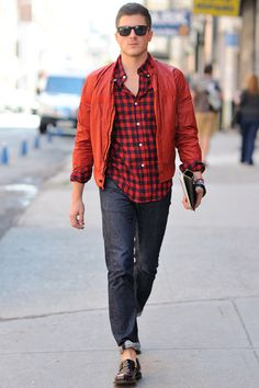 Plaid, Members Only jacket, jeans, penny loafers