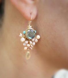 Pearl Jewelry Goddess Earrings with Bezel set by yifatbareket, $185.00
