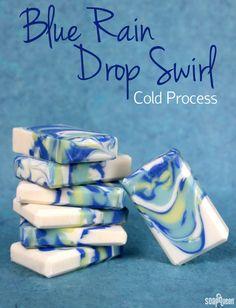 Blue Rain Drop Swirl Cold Process :         Swirl Quick Mix Recipe: 25% Coconut Oil 25% Palm Oil 25% Canola Oil 15% Olive Oil 6.5% Sweet Almond Oil 3% Castor Oil 0.5% Vitamin E Oil