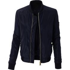 LE3NO Womens Classic Slim Zip Up Biker Bomber Jacket ($28) ❤ liked on Polyvore featuring outerwear, jackets, blue jackets, biker jacket, pocket jacket, zip up jackets and slim biker jacket