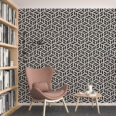 Abstract Pattern Peel and Stick Wallpaper - Canvas Wall Decal / 1 roll: 24W x 72H
