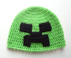 I've got a couple of nephews that would live this!! Minecraft+Creeper+hat+Crochet+Pattern+Free | Creeper Hat