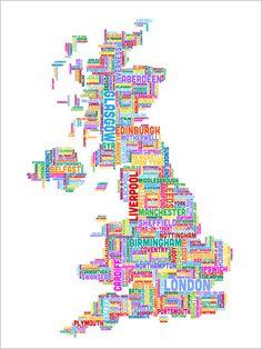 Digital Art - Great Britain Uk City Text Map by Michael Tompsett , Framed Wall Art, Wall Art Prints, Poster Prints, Canvas Prints, Mondrian, Map Of Great Britain, British Literature, Britain Uk, Pixel