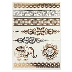 Temporary Tattoo Stickers Metallic Fake Tattoos Elephant Body Sticker