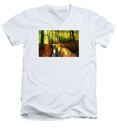 Men's V-Neck T-Shirt - Abstract Landscape 0747