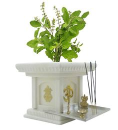 BKR® Jagan Hardware Fiber Tulsi Planter Pot Look Like Real Marble, Light Weight Highly Resistant to Breakage, Harsh Weathers and Ultra Violet Rays - There is an eternal connection between an Indian household and its tulsi plant. Thulasi Plant, Plant Decor, Pooja Room Door Design, Good Morning Wallpaper, Puja Room, Indian Homes, Indian Home Decor, Garden Design, Planter Pots
