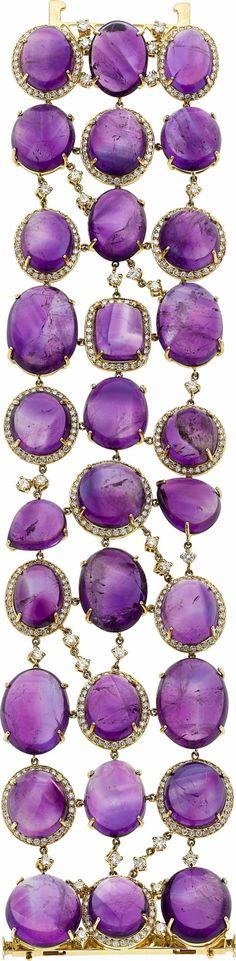 Amethyst, Diamond, Gold Bracelet | Inna Erten