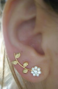 Ear Sweep Wrap - Cuff Earring with Swarovsky - Gold F. Flower - Leaf  | blucky - Jewelry on ArtFire