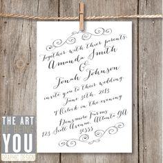 Printable Wedding Invitation Rustic Elegance / by ArtOfYouDesign, $70.00