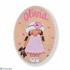Mini placa de puerta artesanal: Niña con sombrero (ref. 12148-12)