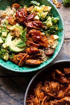 Weeknight Saucy Pineapple BBQ Chicken Bowls in Instant Pot via Half Baked Harvest Bbq Chicken Sandwich, Bbq Chicken Salad, Chipotle Chicken, Chicken Dips, Primal Kitchen, Cooking Recipes, Healthy Recipes, Smoker Recipes, Rib Recipes