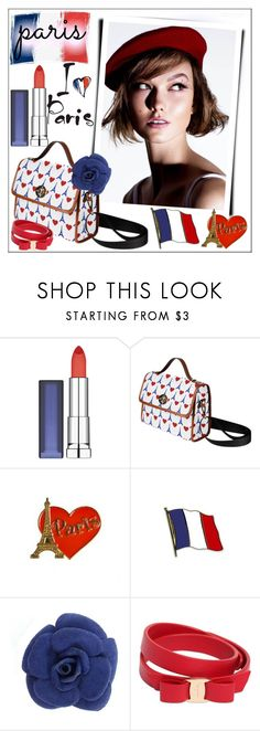 """I Love Paris!"" by whirlypath ❤ liked on Polyvore featuring Maybelline, Aime and Salvatore Ferragamo"