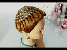 Hairstyles for long hair.  Circle braid (4 strand ribbon braid). - YouTube