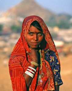 A Rajasthani woman at the Pushkar Fair, an annual five-day camel and livestock fair, in the town of Pushkar in Rajasthan, India