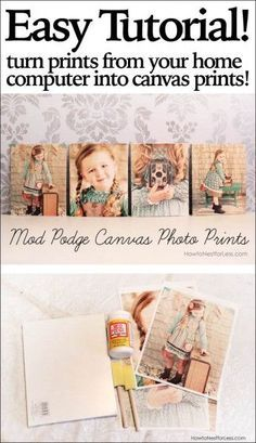 Print out photos from your home computer and mod podge onto canvas boards. The texture will make them look like they were printed on canvas!