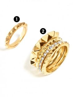 this gold spike set is so edgy glam