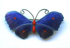 STUNNING SILVER AND PURPLE ENAMEL BUTTERFLY BROOCH JA&S JOHN ATKINS AND SON