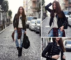 Black Combat Boots, Distressed Skinny Jeans, Flannel, White T-Shirt, Black Leather Military Jacket... Big City Rocker