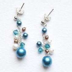 Teal Pearl Cluster Earrings