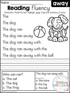 Free Kindergarten Reading Fluency and Comprehension Set 1