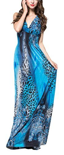 433aad1ad67d Wantdo Women s Casual Deep V-neck Printed Summer Maxi Dresses Plus size  Affordable Dresses