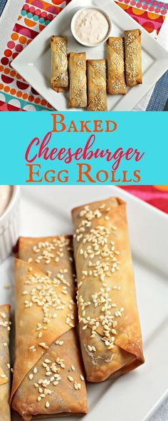 Baked Cheeseburger Egg Rolls - Mindy's Cooking Obsession Baked Cheeseburger Egg Rolls are an American twist on this Asian classic. Ground beef, onion, cheese Worcestershire sauce, and mustard in a wonton wrapper. Egg Roll Recipes, Beef Recipes, Cooking Recipes, Yummy Recipes, What's Cooking, Drink Recipes, Egg Roll Wrappers, Wonton Wrappers, Finger Food