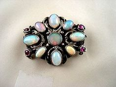 Austro Hungarian Opal Pin with Rubies